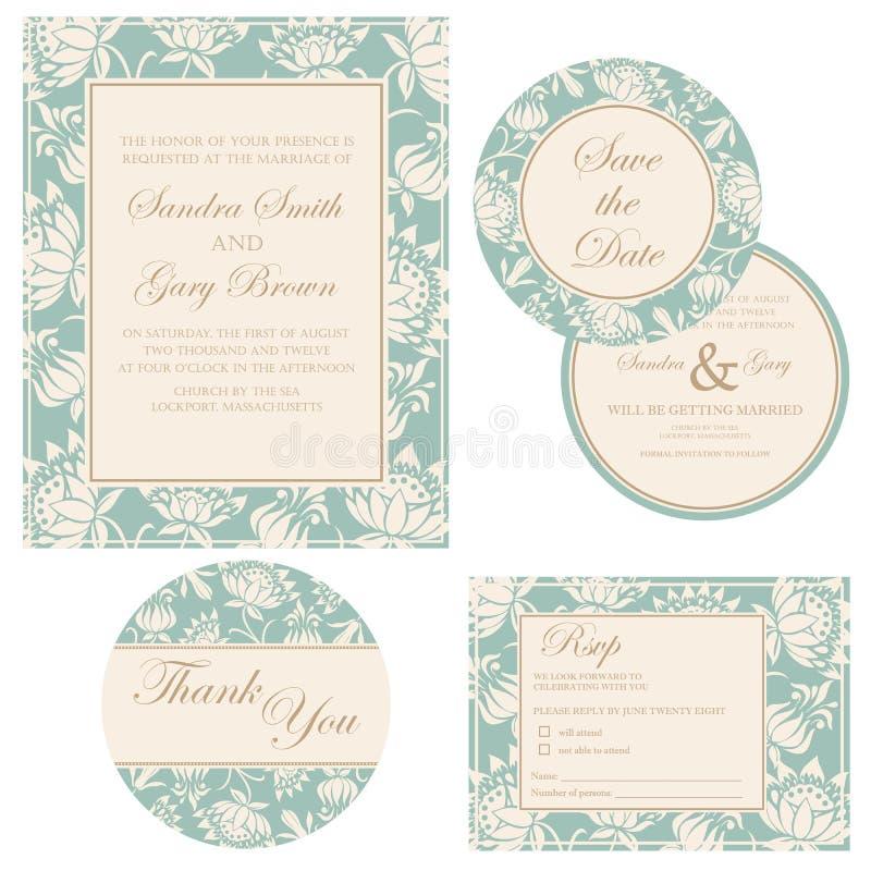 Комплект приглашения свадьбы иллюстрация штока