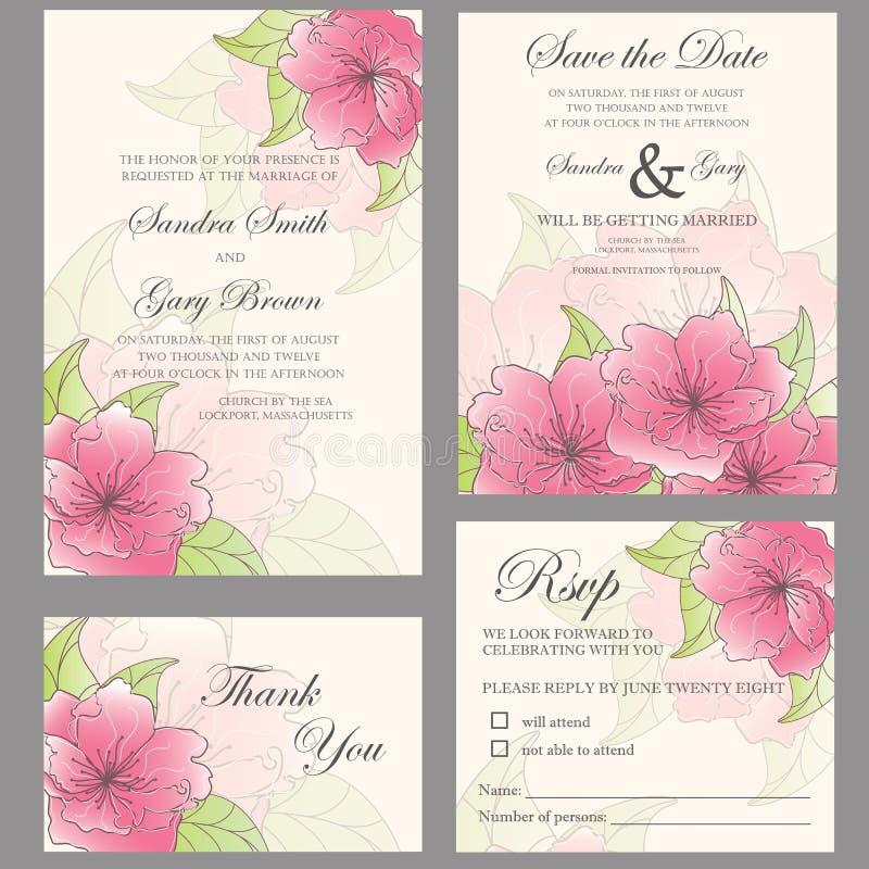 Комплект приглашения свадьбы иллюстрация вектора