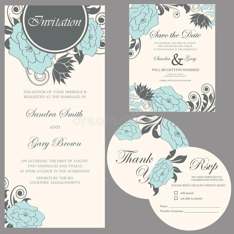 Комплект приглашения свадьбы бесплатная иллюстрация