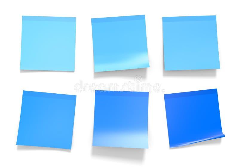 Комплект примечаний голубого офиса липких для напоминаний и важной информации, перевода 3D иллюстрация вектора