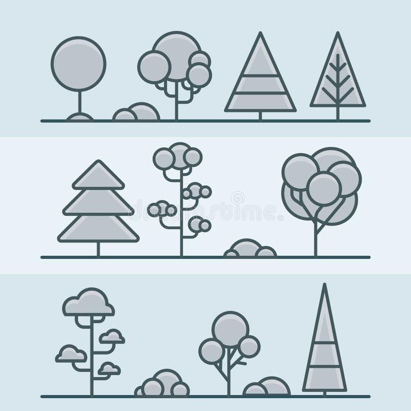 Комплект природы леса парка куста дерева геометрический линейно иллюстрация вектора