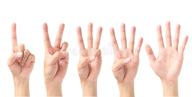 Комплект 1 2 3 4 5 при знак руки изолированный на белом backgro стоковое фото