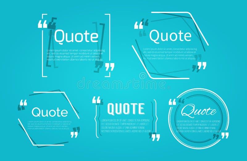 Комплект пробелов цитаты с пузырем текста с запятыми иллюстрация штока