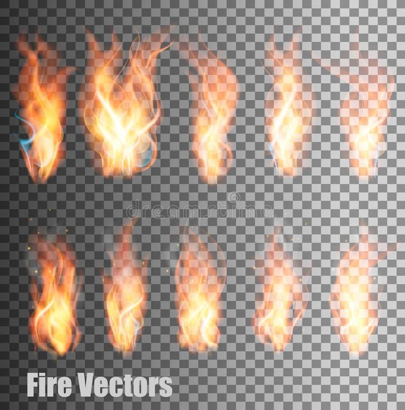 Комплект прозрачных векторов пламени иллюстрация вектора