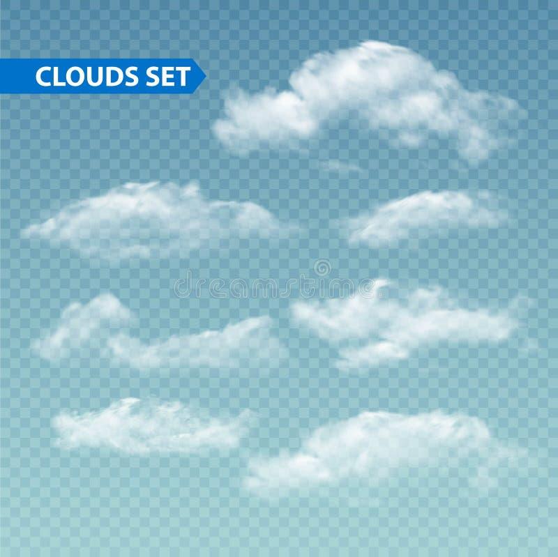 Комплект прозрачных различных облаков вектор бесплатная иллюстрация