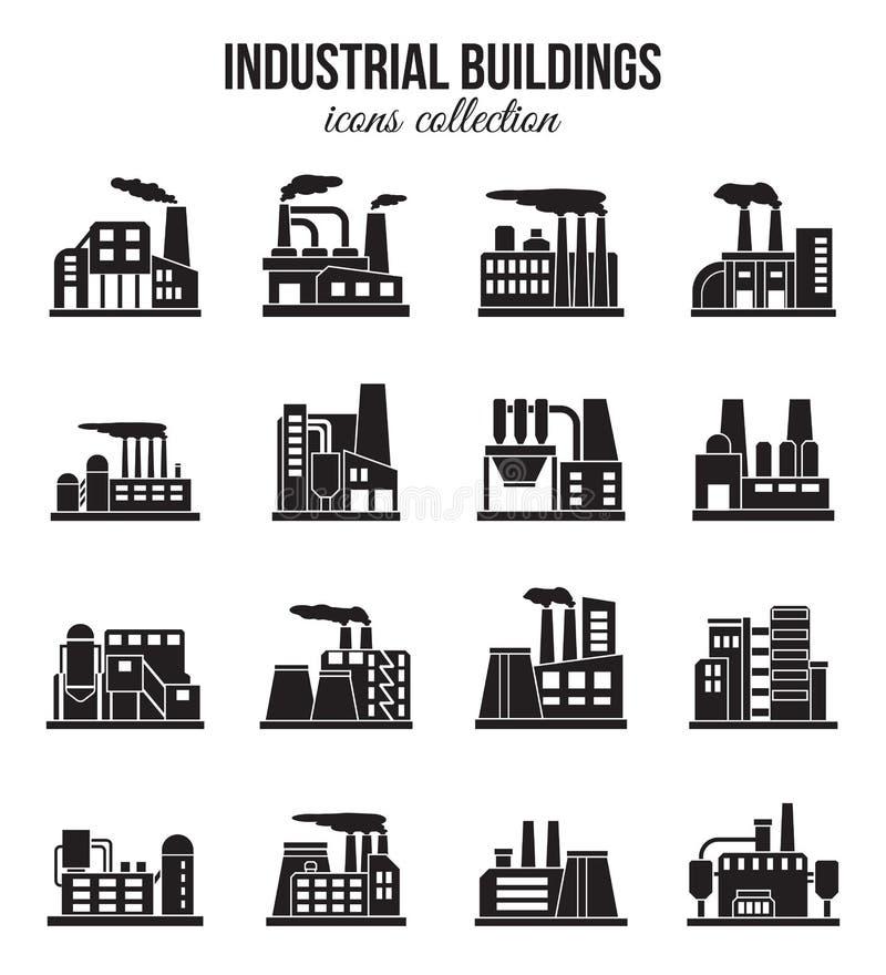 Комплект промышленных установленных значков зданий manufactory иллюстрация вектора