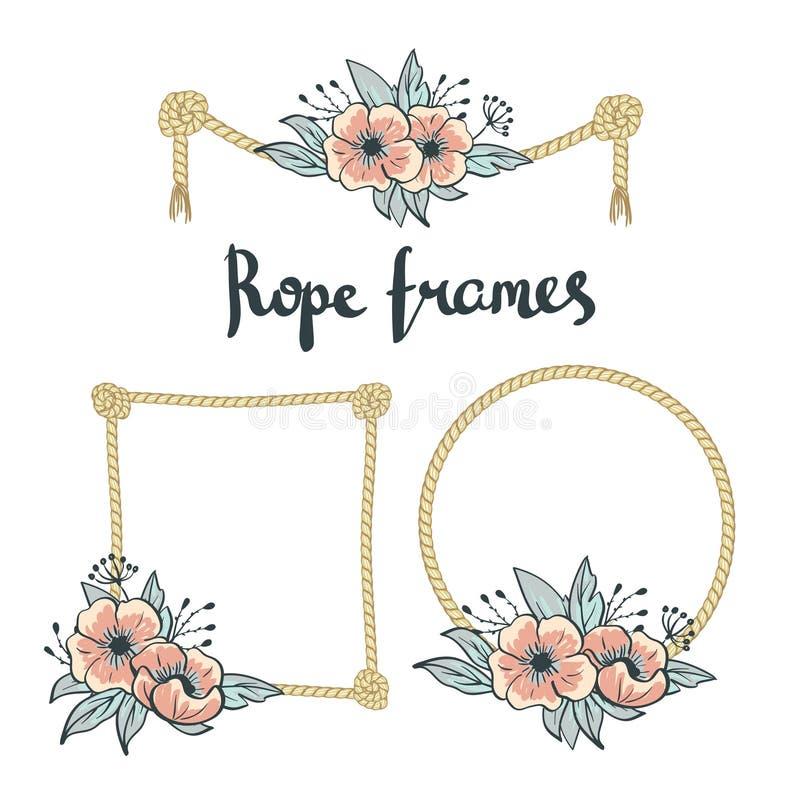 Комплект простой веревочки обрамляет графические дизайны на белой предпосылке с цветками иллюстрация вектора