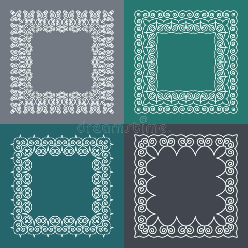Комплект простой и грациозно рамки вензеля с космосом экземпляра для текста в ультрамодной mono линии стиле Элегантные элементы д иллюстрация штока