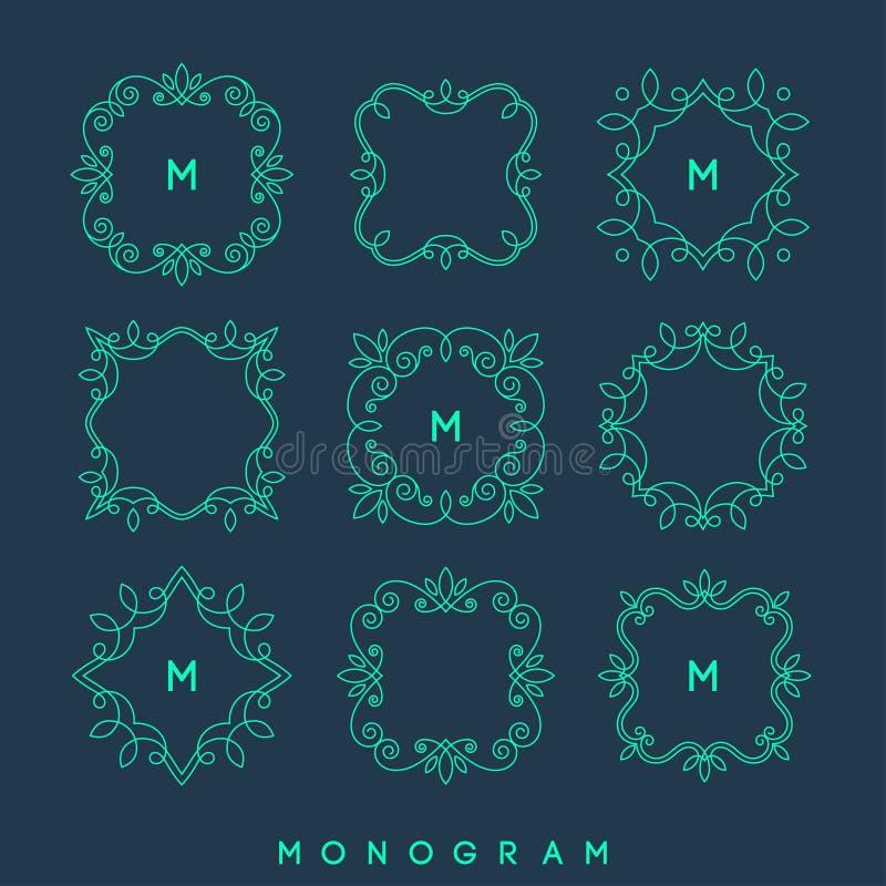 Комплект простых и элегантных шаблонов дизайна вензеля иллюстрация штока