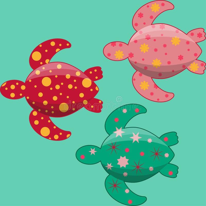 Комплект простых плоских морских черепах украшенных картинами иллюстрация штока