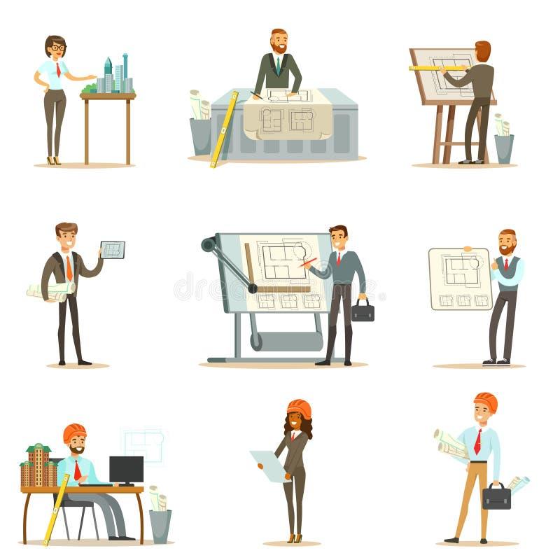 Комплект профессии архитектора иллюстраций вектора с проектами архитекторов конструируя и светокопий для строить иллюстрация штока
