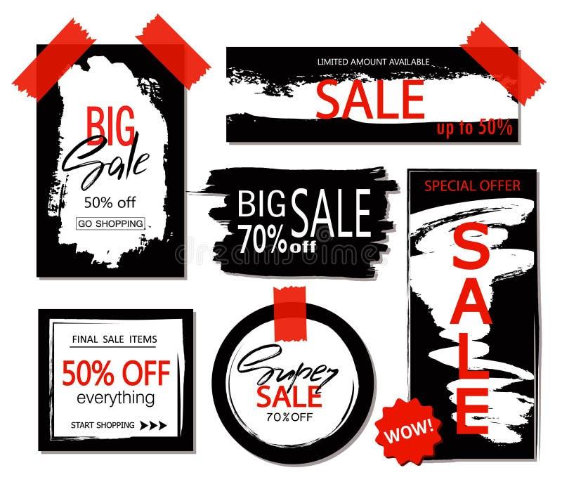 Комплект продажи, стикеров скидки и знамен Нарисованная рукой щетка grunge штрихует и splatters Предпосылки для текста бесплатная иллюстрация