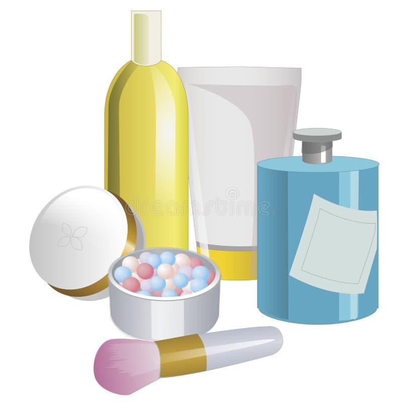 Комплект продуктов ухода за лицом на белой предпосылке также вектор иллюстрации притяжки corel бесплатная иллюстрация