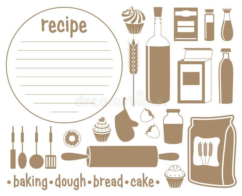 Комплект продуктов для печь бесплатная иллюстрация