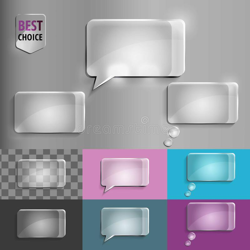 Комплект прямоугольника стеклянных значков пузыря речи с мягкой тенью на предпосылке градиента Иллюстрация EPS 10 вектора для сет стоковая фотография rf