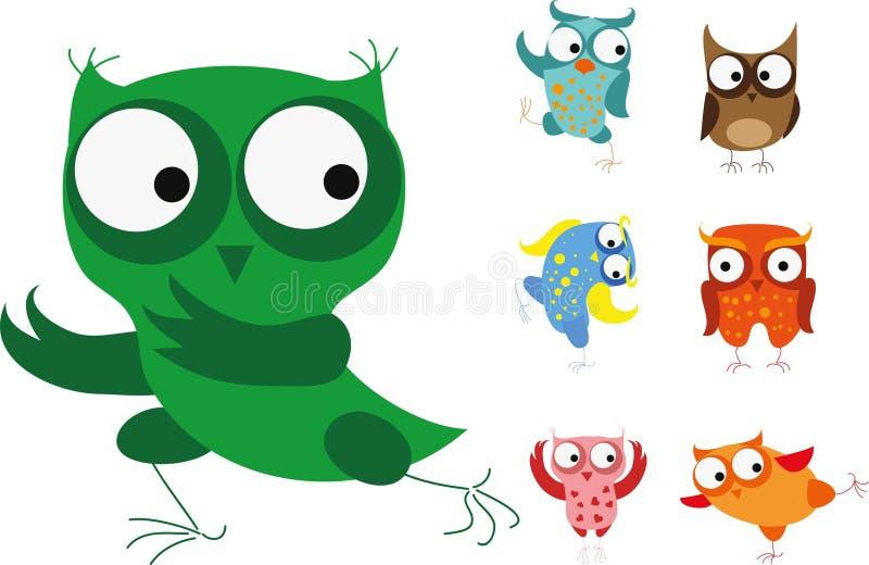 Комплект птиц шаржа - сычей бесплатная иллюстрация
