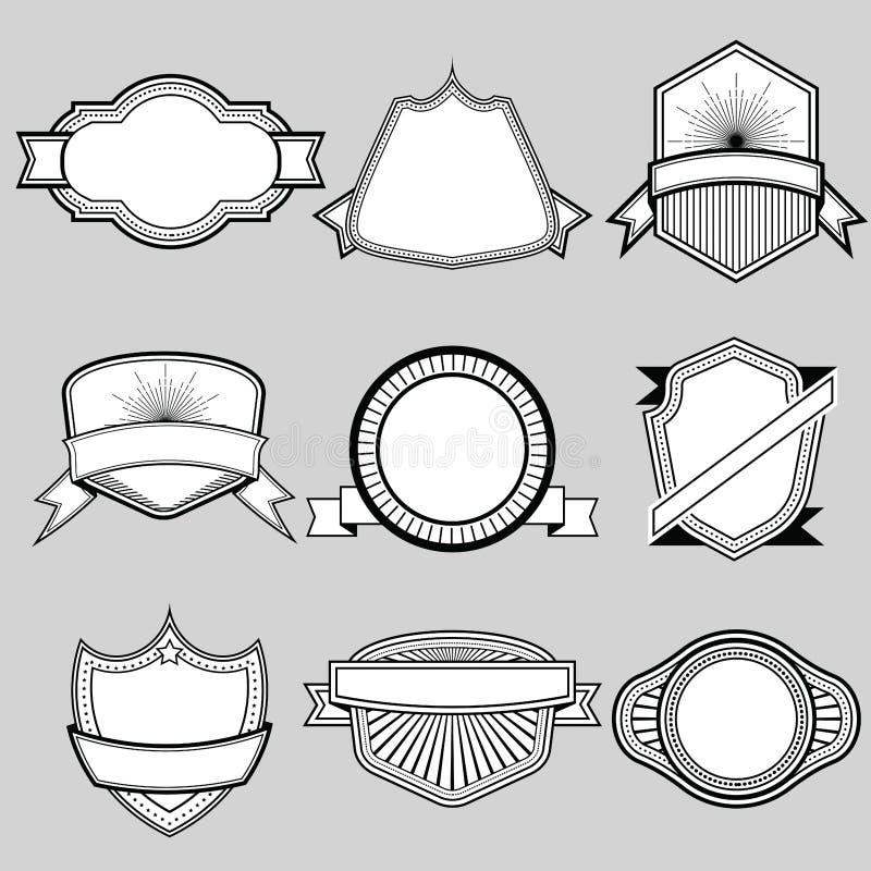 Комплект пустого комплекта 9 значков рамки лент и ярлыков Illu вектора иллюстрация вектора
