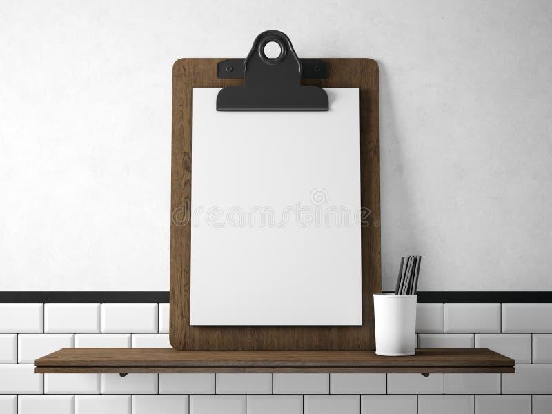 Комплект пустой белой таблетки на деревянных книжных полках 3d представляют стоковое изображение