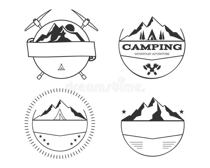 Комплект пустых винтажных значков летнего лагеря и внешних шаблонов логотипа, эмблем и ярлыков бесплатная иллюстрация