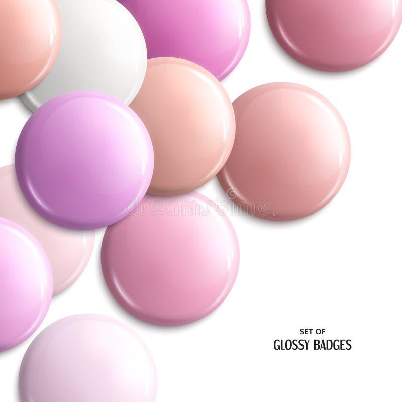 Комплект пустых, лоснистых значков Розовые пастельные тени вектор бесплатная иллюстрация