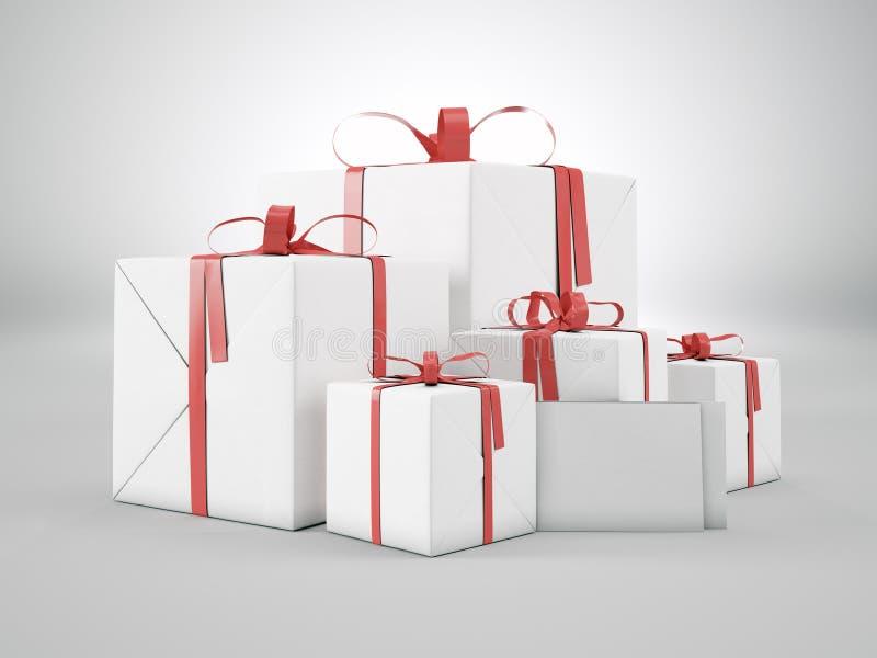 Комплект пустых подарочных коробок различных размеров с красным смычком ленты и пустыми конвертами на белой предпосылке 3d предст бесплатная иллюстрация