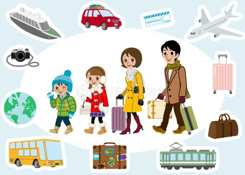 Комплект путешественника и транспорта семьи зимы иллюстрация штока