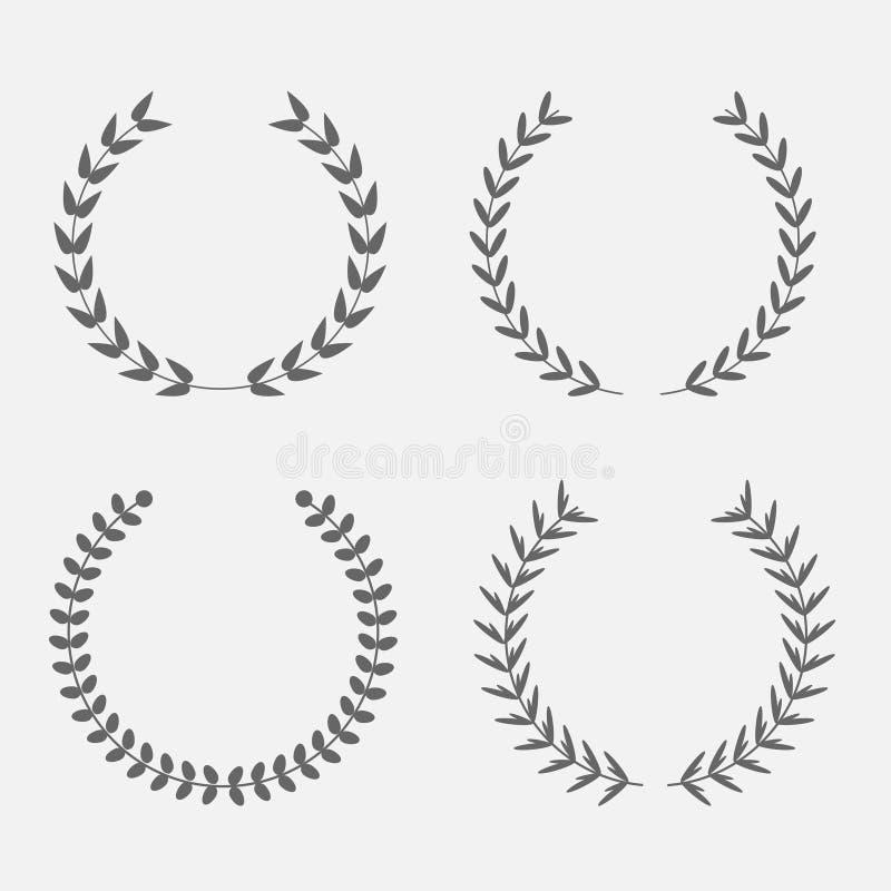 Комплект пшеницы круглого лавра силуэта foliate бесплатная иллюстрация