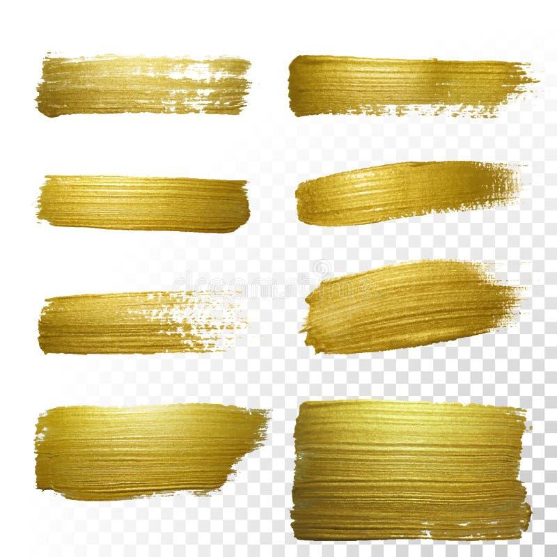 Комплект пятна хода мазка краски золота вектора бесплатная иллюстрация