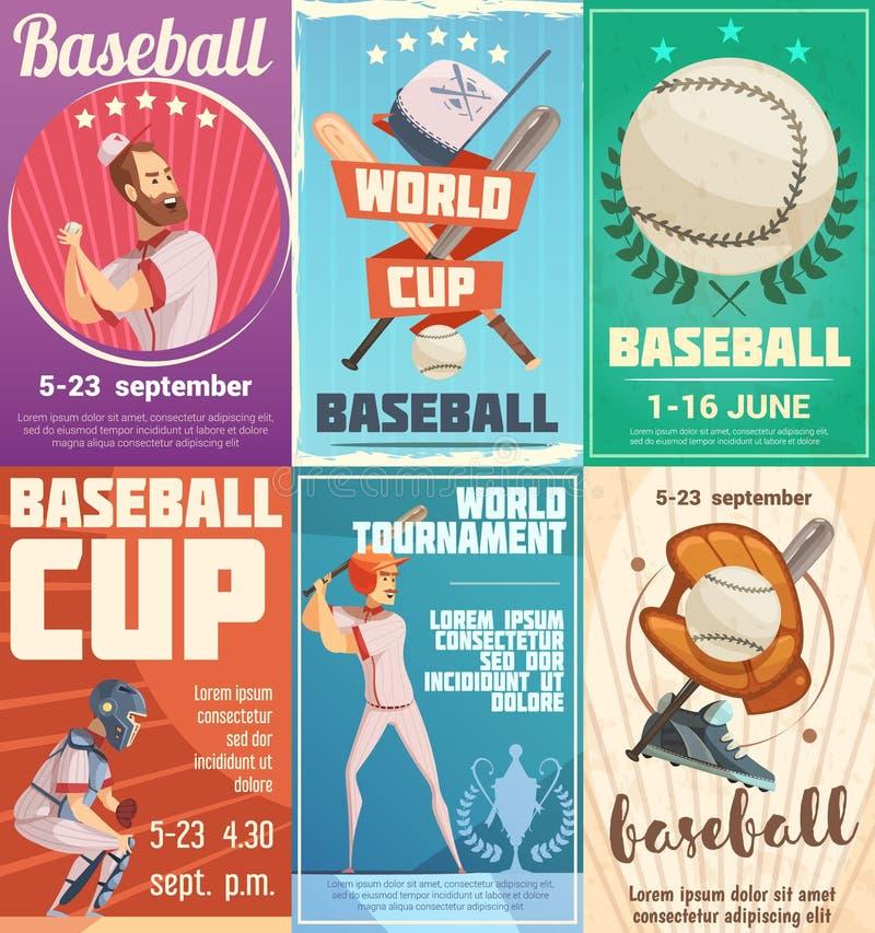 Комплект плакатов бейсбола в ретро стиле иллюстрация вектора