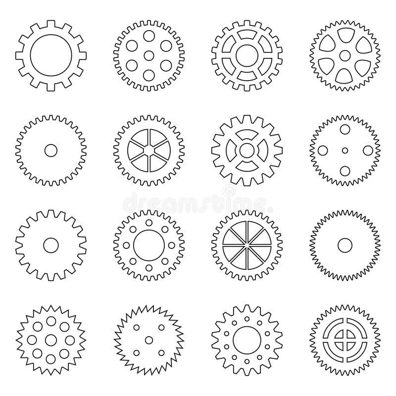 Комплект планов колес шестерни, иллюстрация вектора стоковое изображение rf