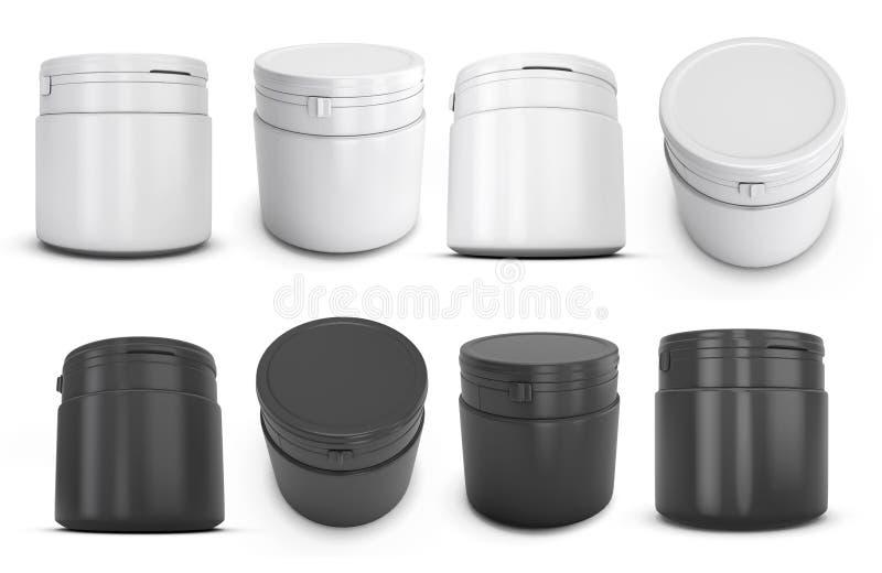 Комплект пластмассы шаблона белой и черной может для продуктов иллюстрация вектора