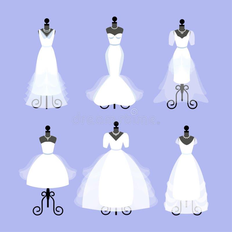 Комплект платьев свадьбы Мантии моды на манекенах иллюстрация вектора