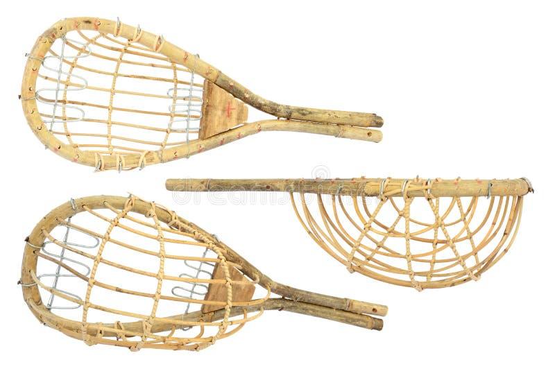 Комплект плетеного подборщика с длинными рукоятками плодоовощ изолированного на белизне стоковое фото rf