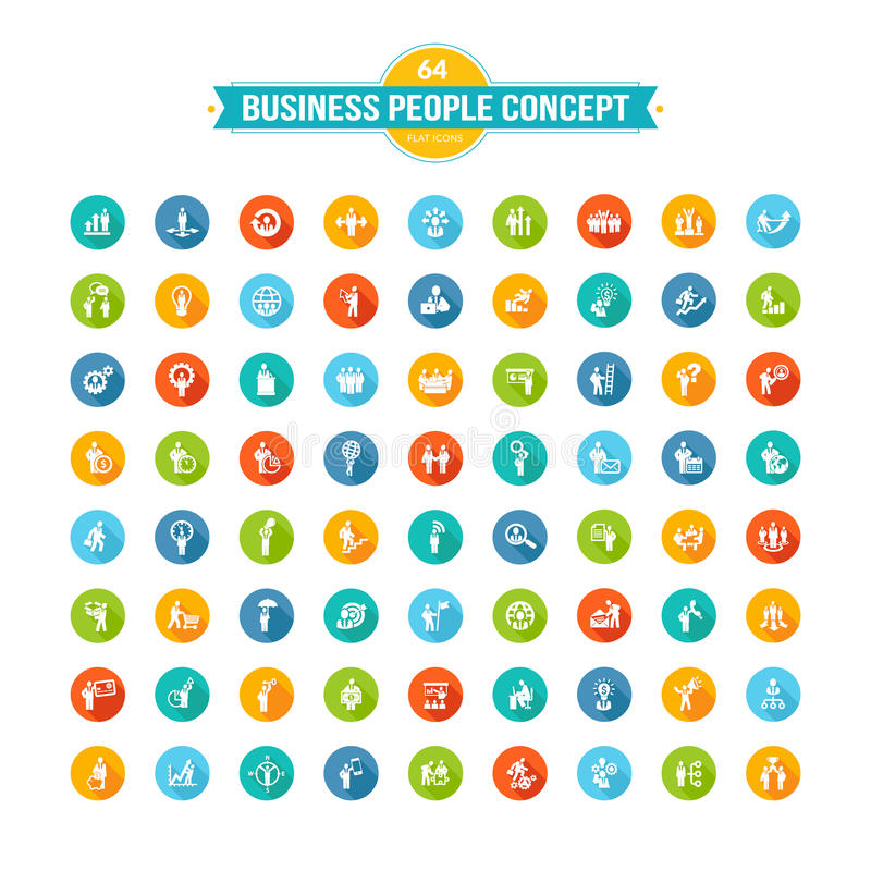 Комплект плоских бизнесменов значков концепции дизайна бесплатная иллюстрация