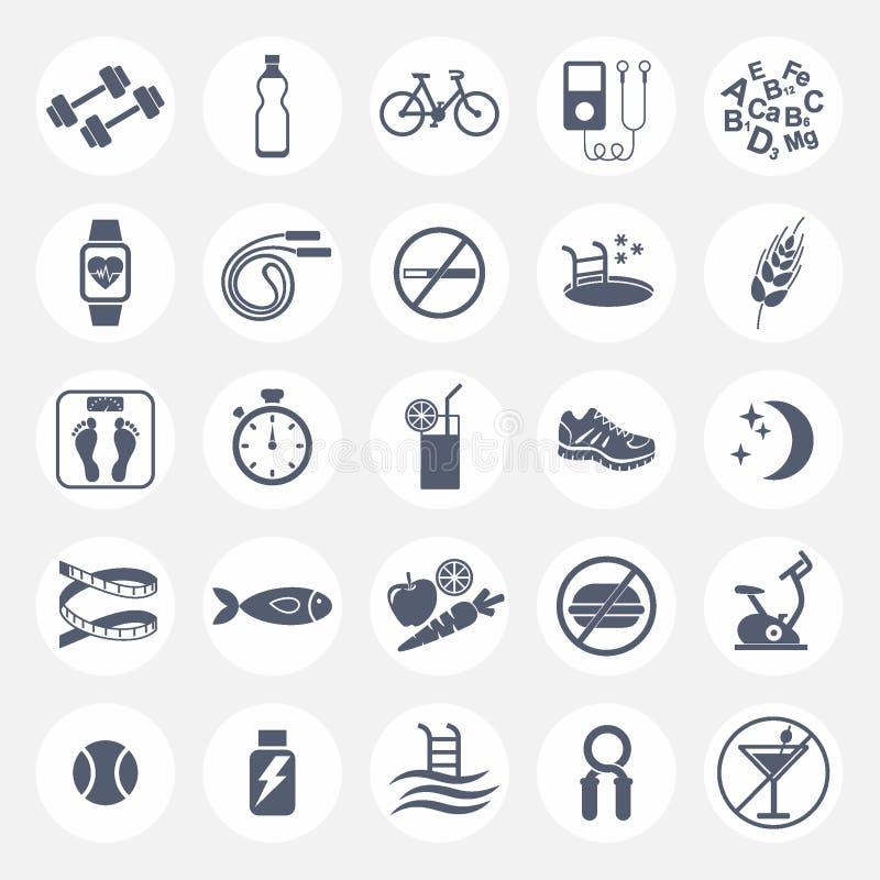Комплект плоских значков вектора с подсказками для проигрышного веса Спорт, диета и здоровый образ жизни Спортзал, разминка, трен иллюстрация штока