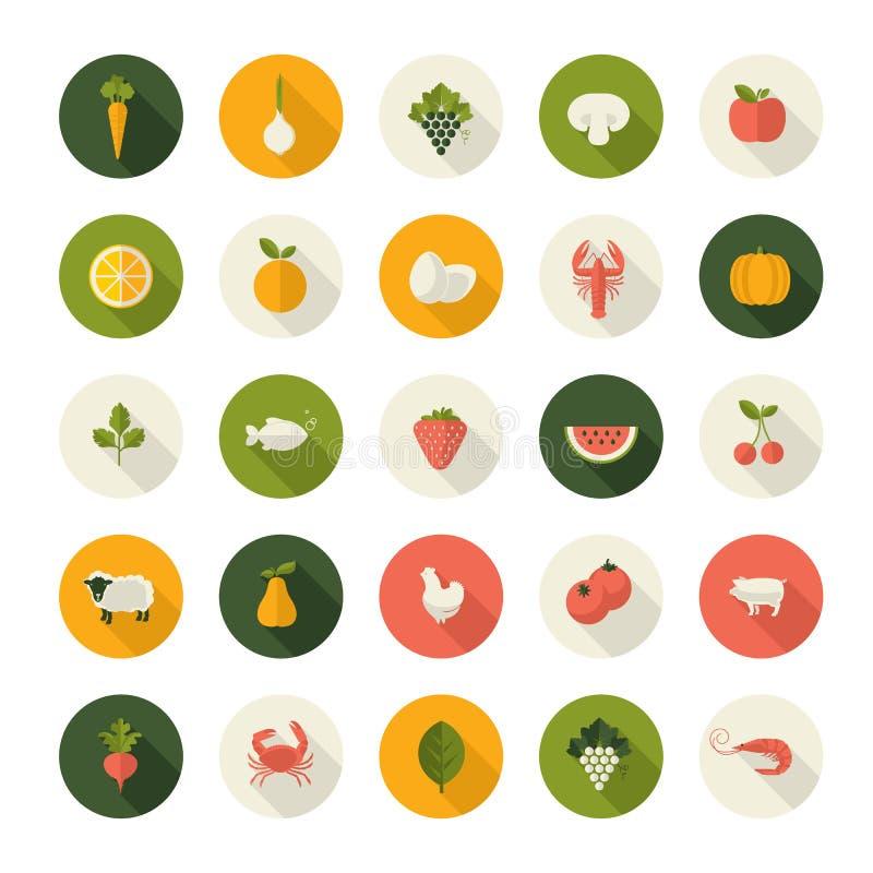 Комплект плоских значков дизайна для еды и питья иллюстрация штока