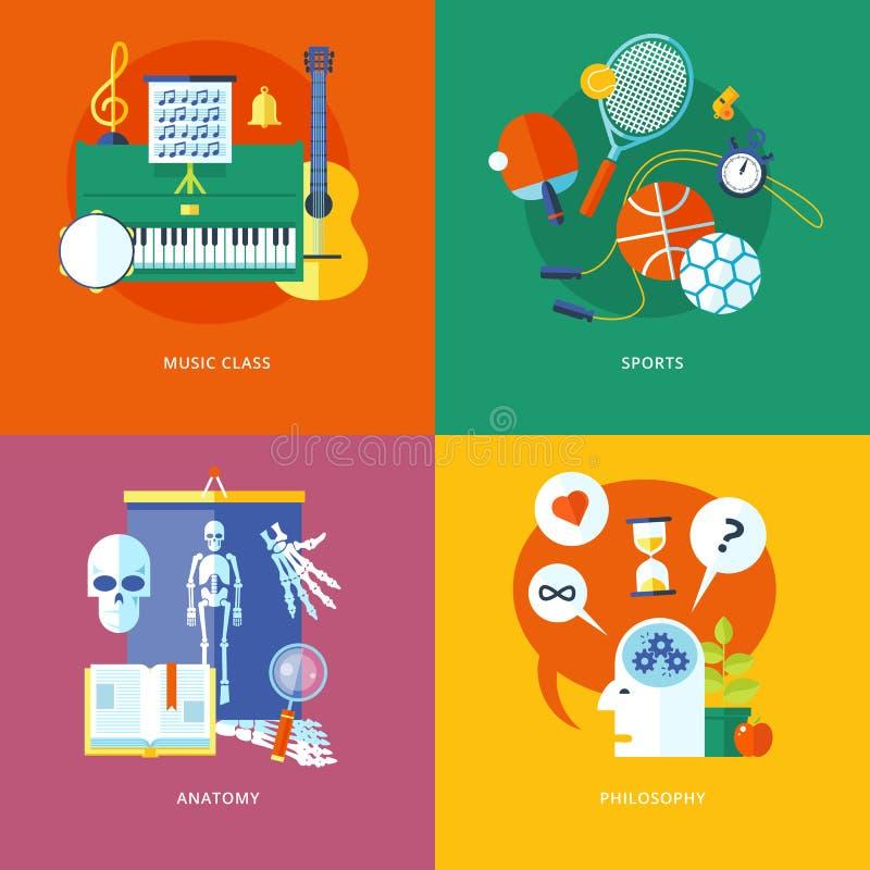 Комплект плоских значков идеи проекта для школы и образования бесплатная иллюстрация