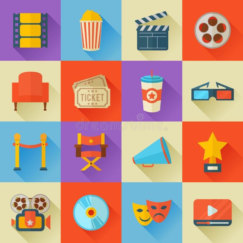 Комплект плоских значков кино стиля иллюстрация вектора
