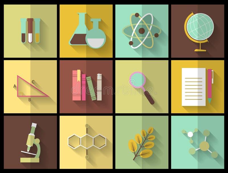 Комплект плоских значков образования для дизайна бесплатная иллюстрация