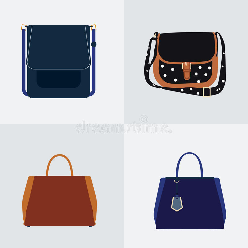 Комплект 4 плоских значков различной сумки - комплект вектора стоковая фотография rf