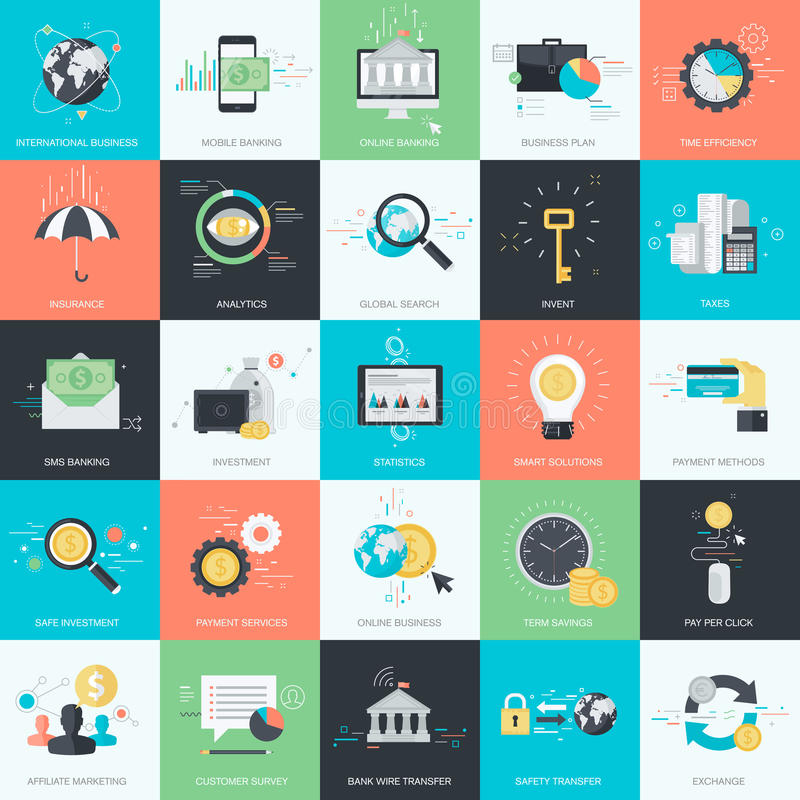 Комплект плоских значков стиля дизайна для финансов, креня