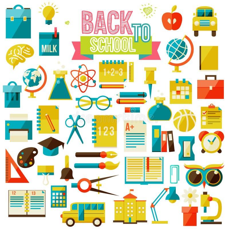 Комплект плоских значков школы бесплатная иллюстрация