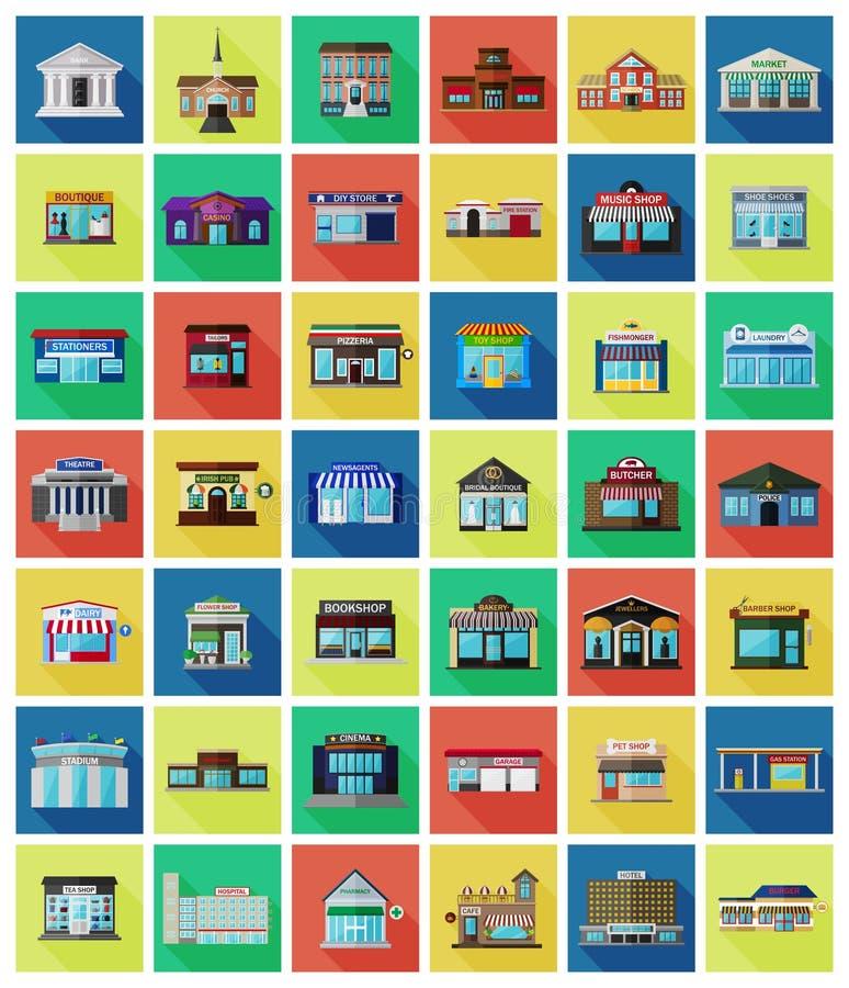 Комплект плоских зданий и магазинов города иллюстрация вектора
