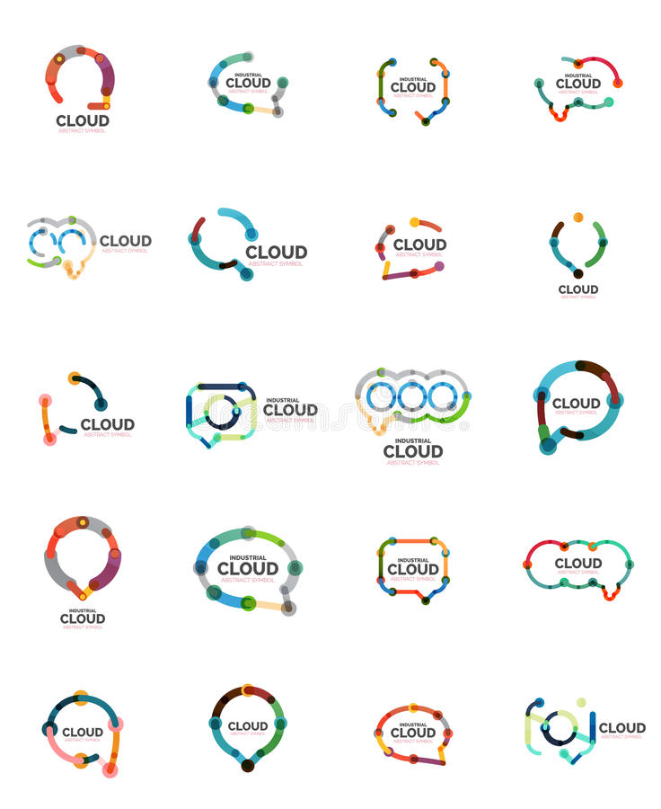 Комплект плоских линейных логотипов облака речи дизайна Поговорите пузыри, современную геометрическую промышленную тонкую линию з иллюстрация вектора