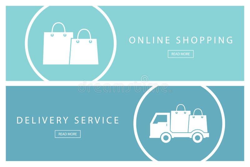 Комплект плоских идей проекта онлайн покупок и обслуживания поставки Знамена для веб-дизайна, маркетинга и продвижения иллюстрация вектора