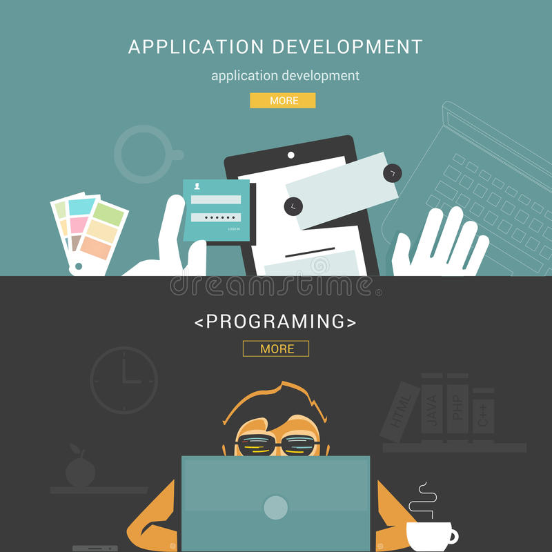 Комплект плоских идей проекта для процесса и программирования развития веб-приложение иллюстрация вектора