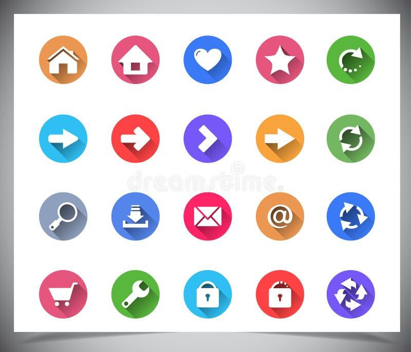 Комплект плоских кнопок цвета. стоковые изображения