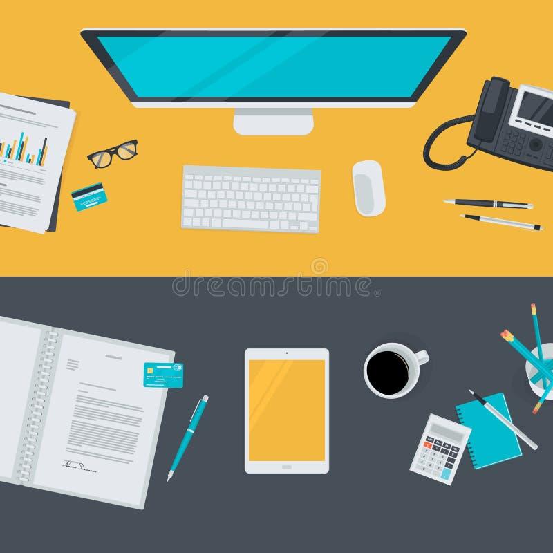 Комплект плоских концепций иллюстрации дизайна для дела, финансов, электронной коммерции бесплатная иллюстрация