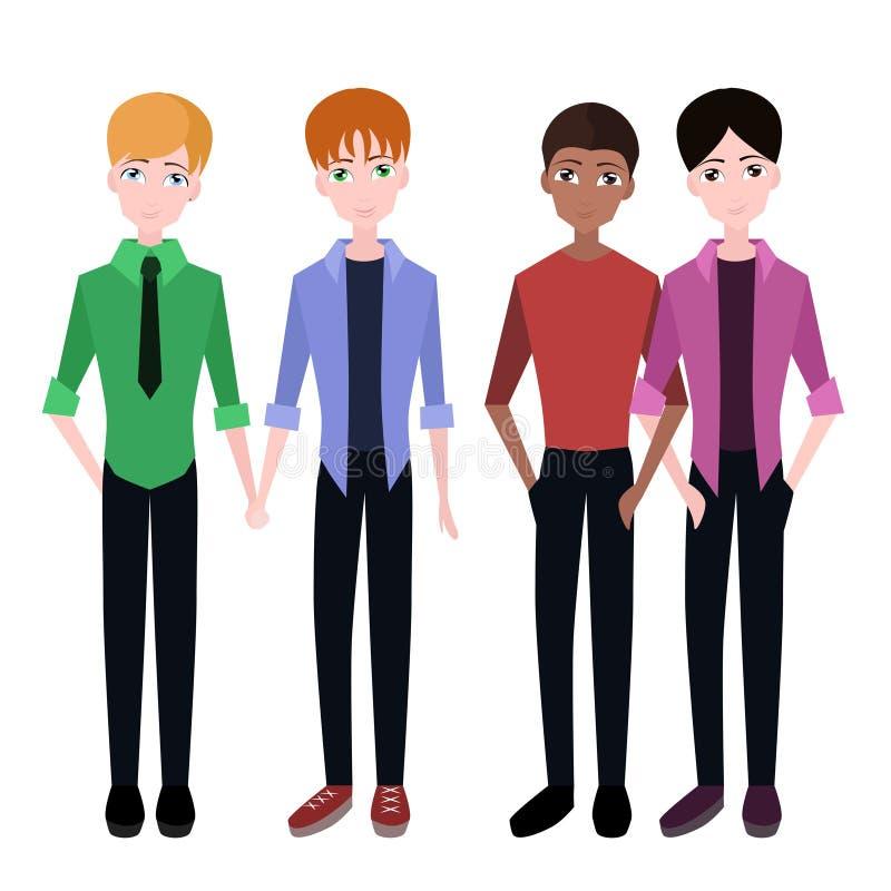 Комплект плоских пар гомосексуалиста иллюстрация штока
