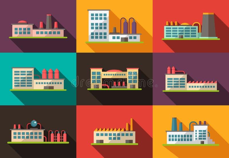 Комплект плоских пиктограмм промышленных зданий дизайна иллюстрация вектора